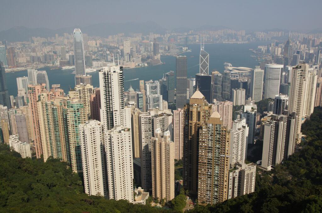 Vista de Hong Kong. Quiebra del grupo inmobiliario Evergrande.